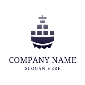 Black Ship and Gray Container logo design