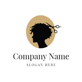 Black Silhouette and Scissors logo design