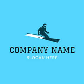Black Ski Athlete and Snowboard logo design