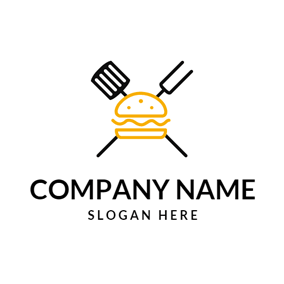Black Slice and Yellow Burger logo design