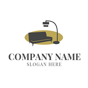 Black Sofa and Lamp Icon logo design