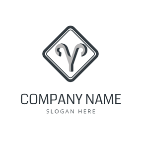 Black Square and Gray Aries Sign logo design