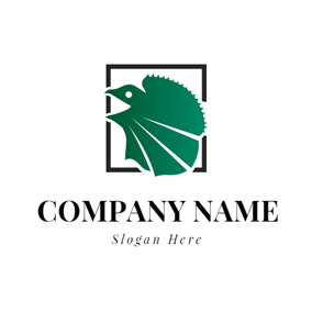 Black Square and Green Lizard logo design
