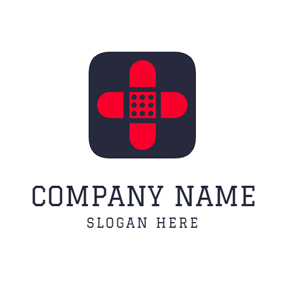 Black Square and Red Cross logo design
