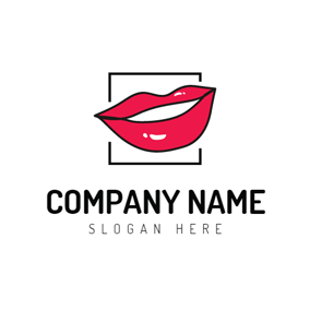 Black Square and Red Lips logo design