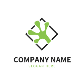 Black Square and Webbed Lizard Claw logo design