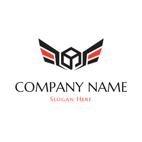 Black Square and Wing logo design
