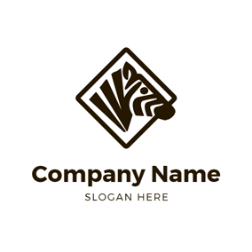Black Square and Zebra Head logo design