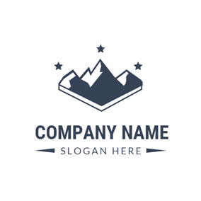 Black Star and Mountain logo design