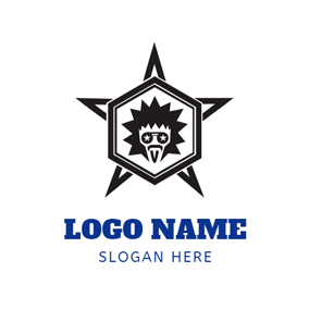Black Star and Rock Singer Face logo design