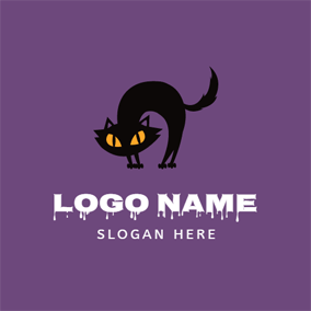 Black Staring and Cat logo design