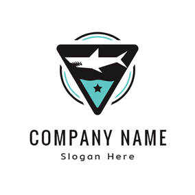 black triangle and white shark logo design