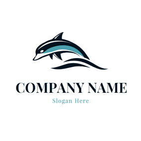 Black Wave and Dolphin logo design