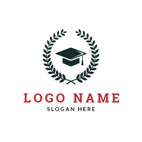 Black Wheat and Mortarboard logo design