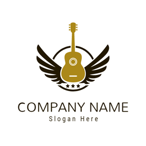Black Wing and Brown Guitar logo design