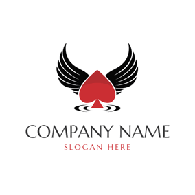 Black Wings and Red Poker Ace logo design
