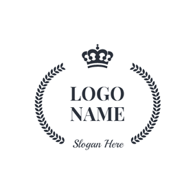 Black Wreath and Crown logo design