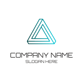 Blue 3D Triangle logo design