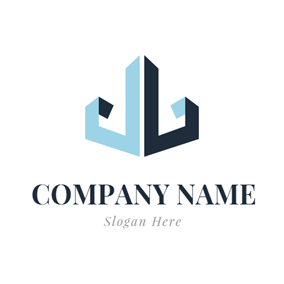 Blue and Black Anchor Icon logo design