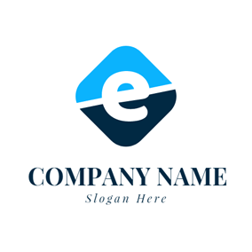 Blue and Black Letter E logo design