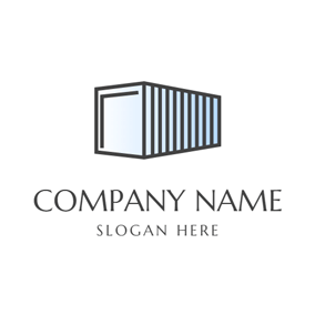 Blue and Black Wooden Container logo design
