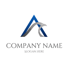 Blue and Gray Alpha logo design
