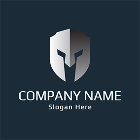 Blue and Gray Helmet logo design