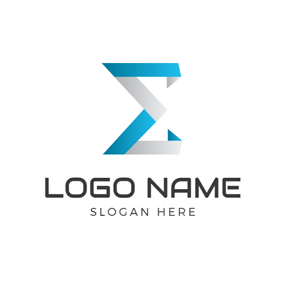 Blue and Gray Sigma logo design