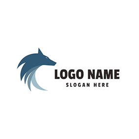 Blue and Gray Wolf Head logo design