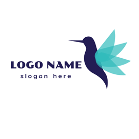 Blue and Green Hummingbird logo design