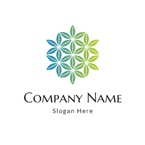 Blue and Green Leaf Icon logo design