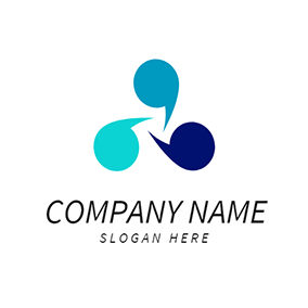 Blue and Green Quote logo design