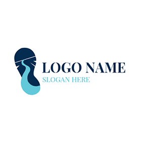 Blue and Green Shoe Sole logo design
