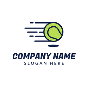 Blue and Green Tennis Ball logo design