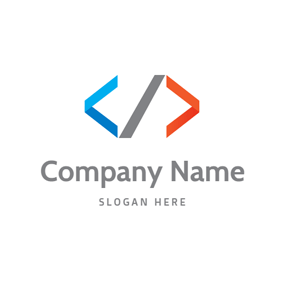 Blue and Orange Code Symbol logo design