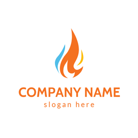 Blue and Orange Gas Icon logo design