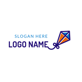 Blue and Orange Kite logo design