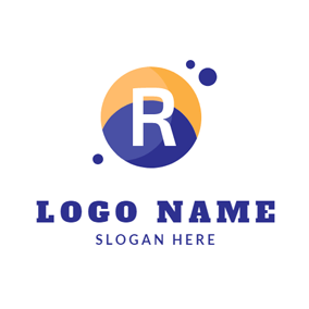 Blue and Orange Letter R logo design