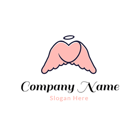 Blue and Pink Angel Wing logo design