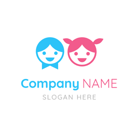 Blue and Pink Smiling Kids logo design