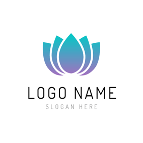 Blue and Purple Lotus Flower logo design