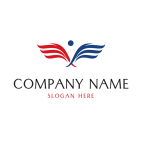 Blue and Red Angel Wing logo design
