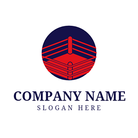 Blue and Red Boxing Ring logo design