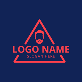 Blue and Red Hipster Man logo design