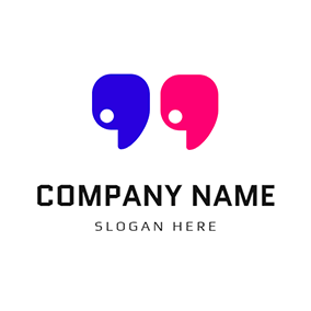 Blue and Red Quote logo design
