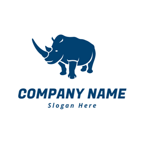 Blue and Strong Rhino logo design