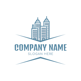 Blue and White Architectural Complex logo design