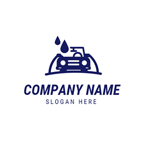 Blue and White Car Wash logo design