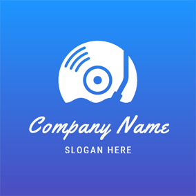 Blue and White CD logo design