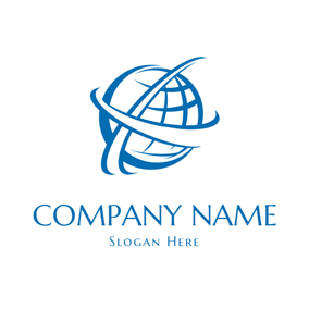 Blue and White Globe Icon logo design